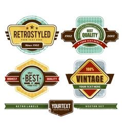 set of grunge retro badges vector image vector image