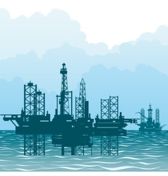The oil-producing platforms vector image vector image