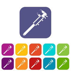 vernier caliper icons set flat vector image