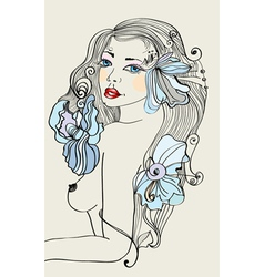 Beautiful colorful female with flowers vector image vector image