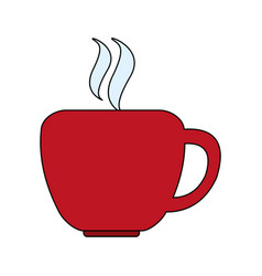 Color graphic silhouette cup of coffee with steam vector