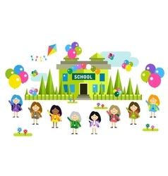 Cute cartoon girls from different countries vector image