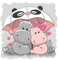 Cute cartoon hippos with umbrella vector