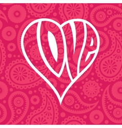 Love heart on seamless paisley background vector image