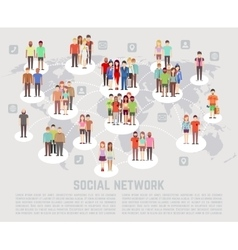 Social network concept with flat characters of vector image
