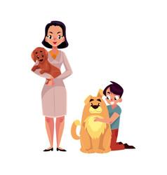 woman female veterinarian doctor vet and little vector image vector image