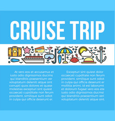 cruise trip banner with travelling symbols vector image vector image