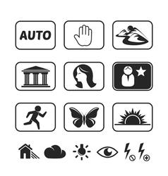 Digital camera modes icons set vector image vector image