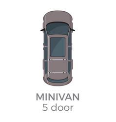 Five doors minivan top view flat icon vector
