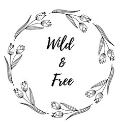 hand drawn of decorative wreath wildflower vector image