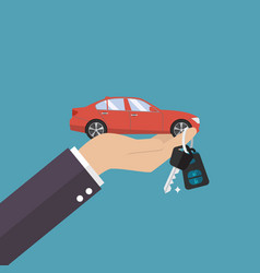 Hand holding car in palm and key on finger vector