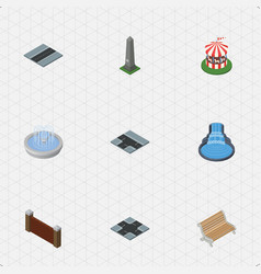 isometric city set of seat barrier path and vector image vector image