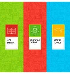 Line School Education Patterns Set vector image