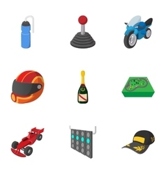 Race and awarding icons set cartoon style vector image