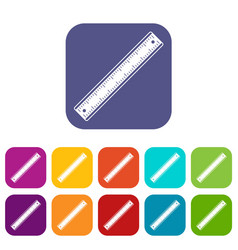ruler icons set flat vector image vector image
