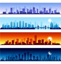 Set of city skylines background vector image vector image