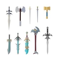Set of Fantastic Game Weapon Models vector image vector image