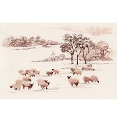 Watercolor summer landscape with sheep vector