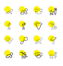 16 infant icons vector image