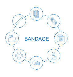 8 bandage icons vector