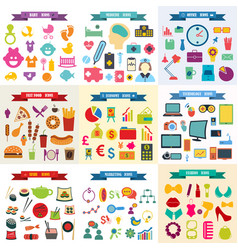Assembly top 9 a set icons vector
