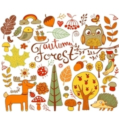 Autumn Forest design elements in doodle style vector image