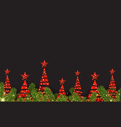 Background with red abstract christmas trees vector