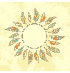 Background with tribal feathers and place for text vector