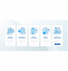 Bankruptcy negative impact blue onboarding mobile vector