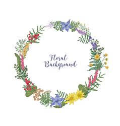 Beautiful hand drawn wreath or circular garland vector
