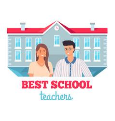 best school teachers portrait young teachers vector image
