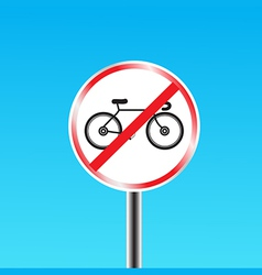 Bicycles prohibited sign vector image vector image