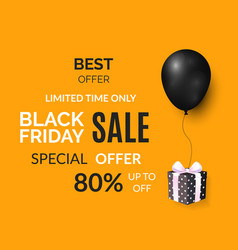 black friday limited time only poster with gift vector image