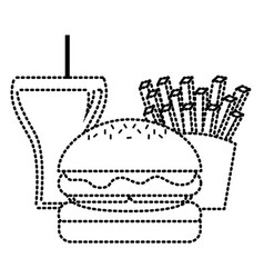 burger french fries and beer fast food vector image