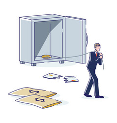 Business man bankrupt with empty money safe vector