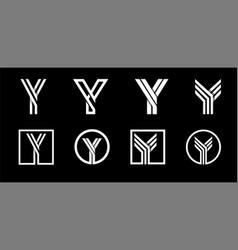 Capital letter y modern set for monograms logos vector