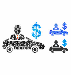 Car seller mosaic icon round dots vector