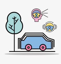 Car with street and modern elements icons vector