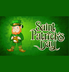 card for st patricks day with leprechaun in a vector image
