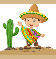 cartoon boy wearing mexican dress vector image