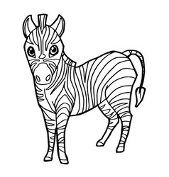 cartoon cute zebra coloring page vector image