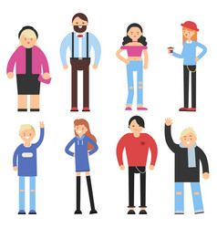 cartoon flat characters different peoples vector image