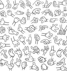 Cartoon Hands Pack Lineart 2 vector image