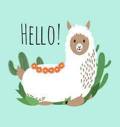 Cartoon lama design - hello card with cute vector