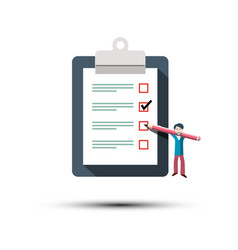 checklist icon man with pancel and paper notebook vector image