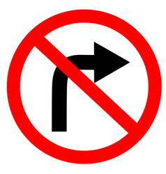 circular single white red and black no turn right vector image