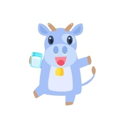 Cow Dancing With Glass Of Milk vector image