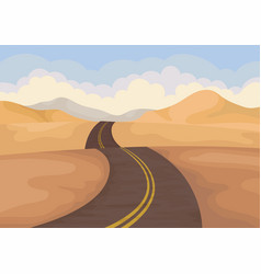 desert landscape with asphalt road valley with vector image