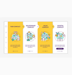 Different conflicts onboarding template vector