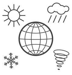 different weathers on the globe vector image
